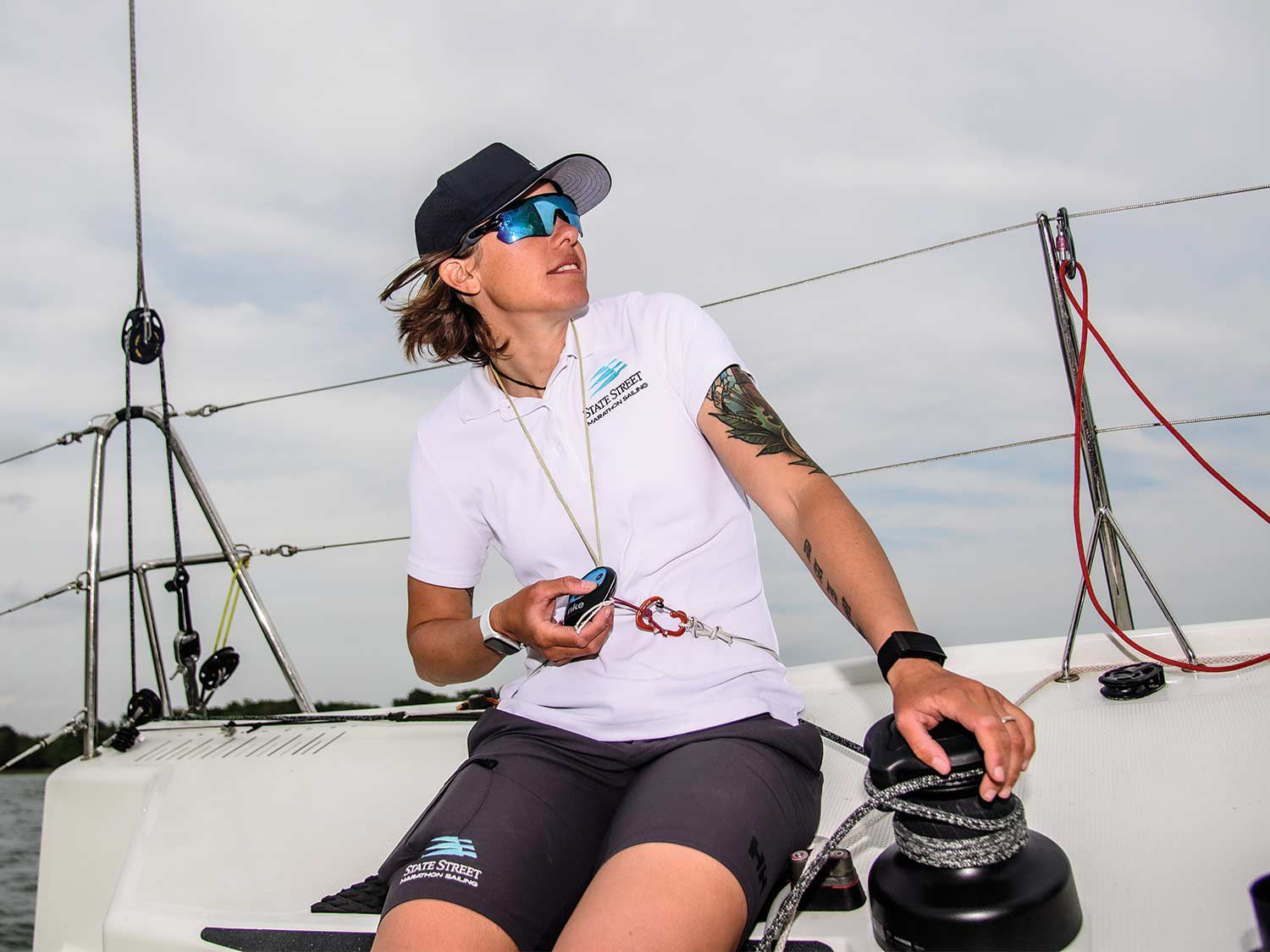 With autopilot remote at the ready, Francesca Clapcich can helm the Figaro Beneteau 3 from anywhere on the boat.