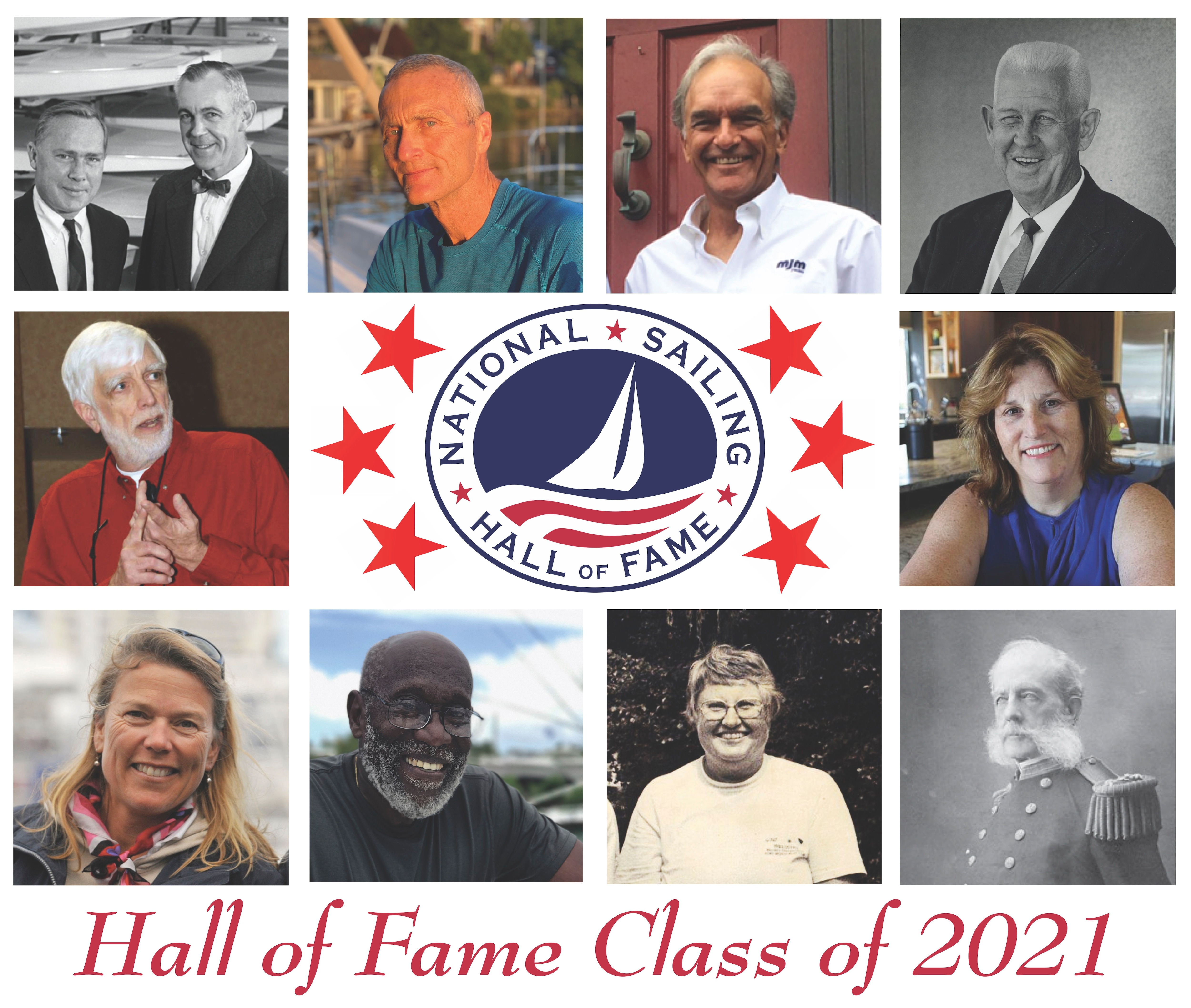 From top left (clockwise): Alexander Bryan and Cortlandt Heyniger, William Carl Buchan, Agustin Diaz, Gilbert T. Gray, Lynne Jewell Shore, Rear Admiral Stephen B. Luce, Jane Wiswell Pegel, Captain William D. Pinkney (Lifetime Achievement), Dawn Riley and Richard Rose.