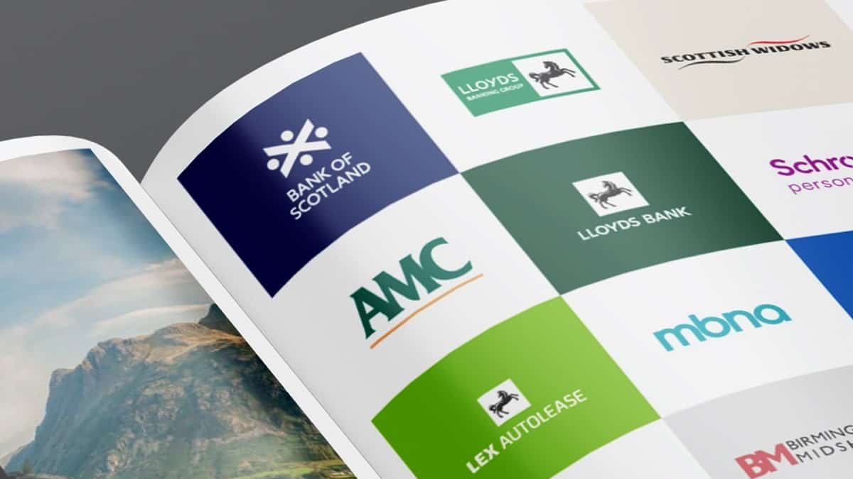 A brochure showing some of Lloyds Banking Group's major brands