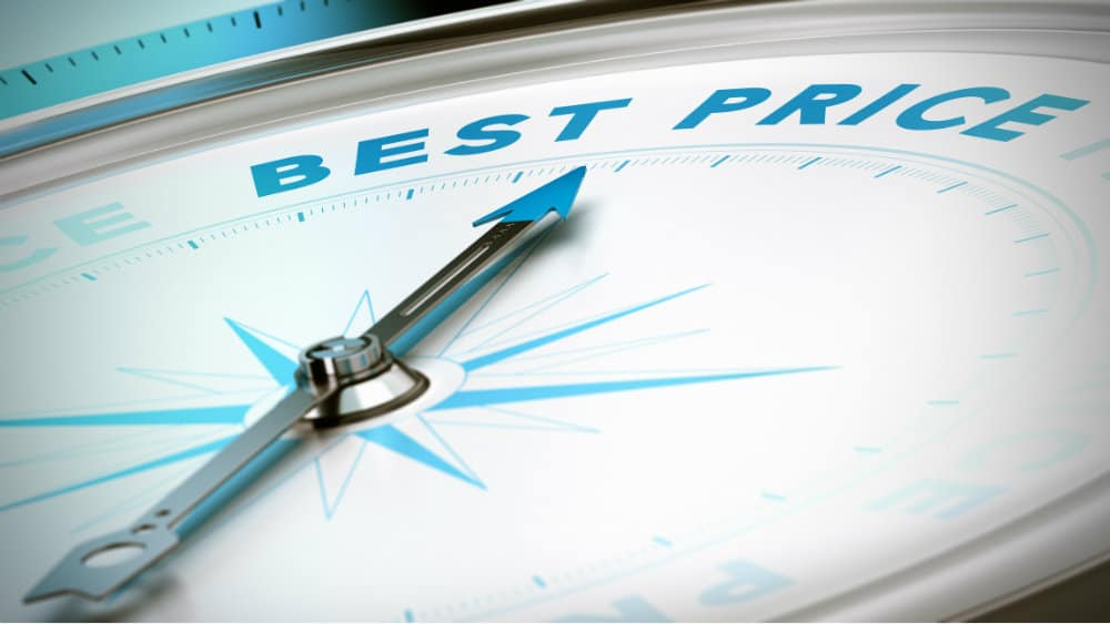 Compass pointing towards 'best price'