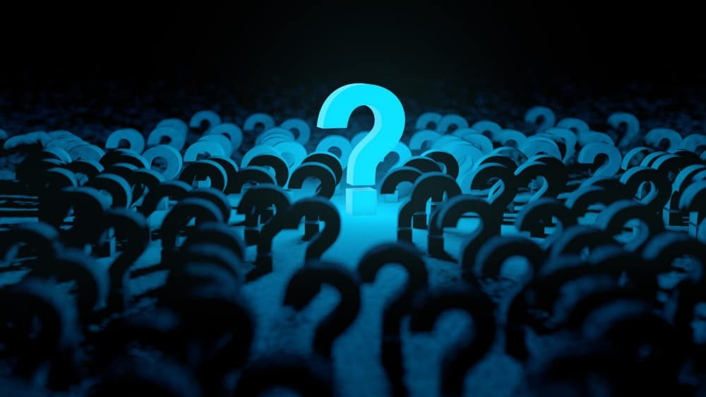 Blue question mark background and dark space