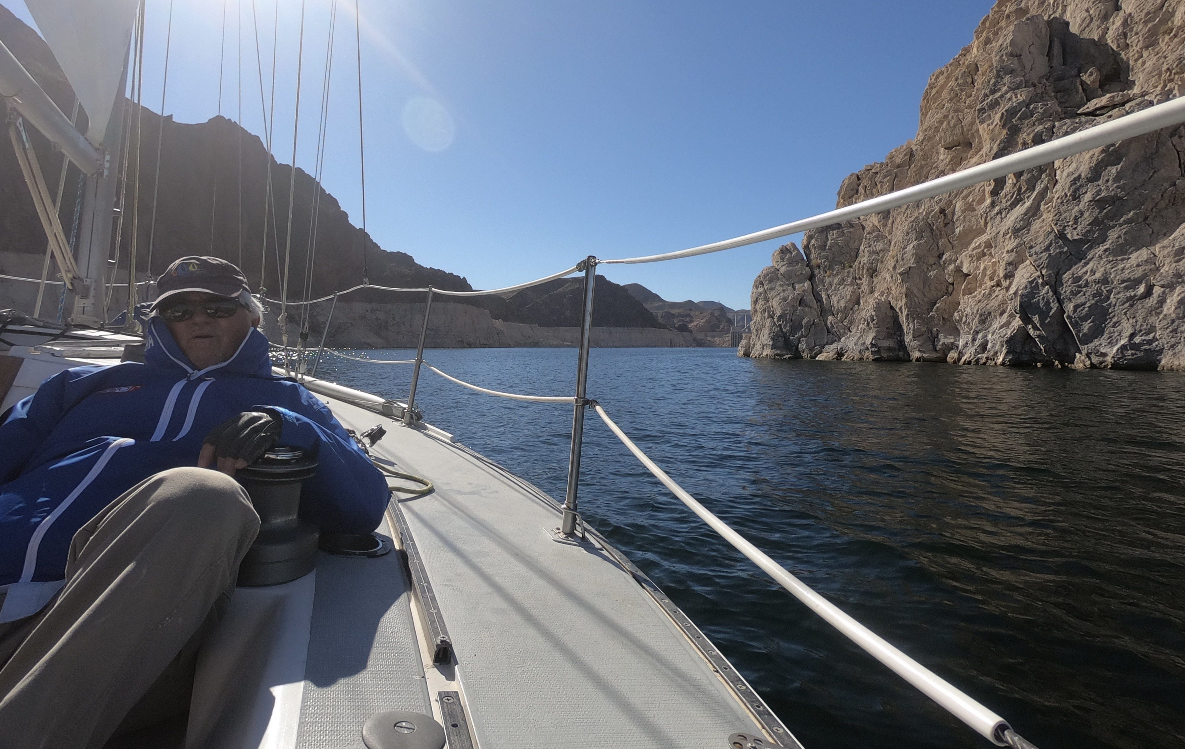 Jim Rosachi, owner of the Capri 30 Blue By You, provides a guided tour of Nevada's Lake Mead.