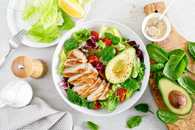keto diet meal with chicken, greens and avocado