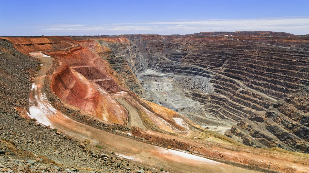 View of a gold mine from above