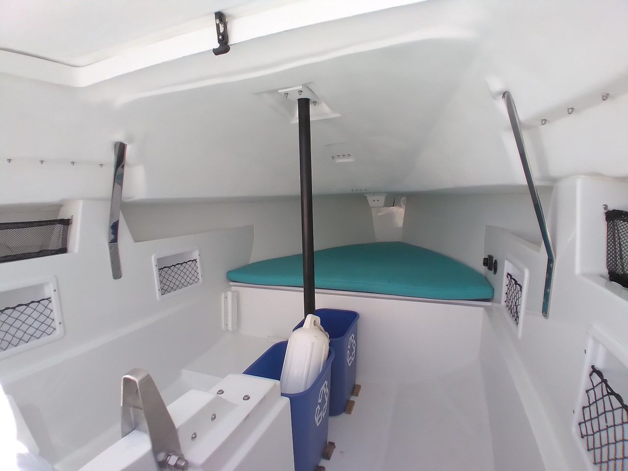 The interior of the Tartan 245, with lifting keel box.