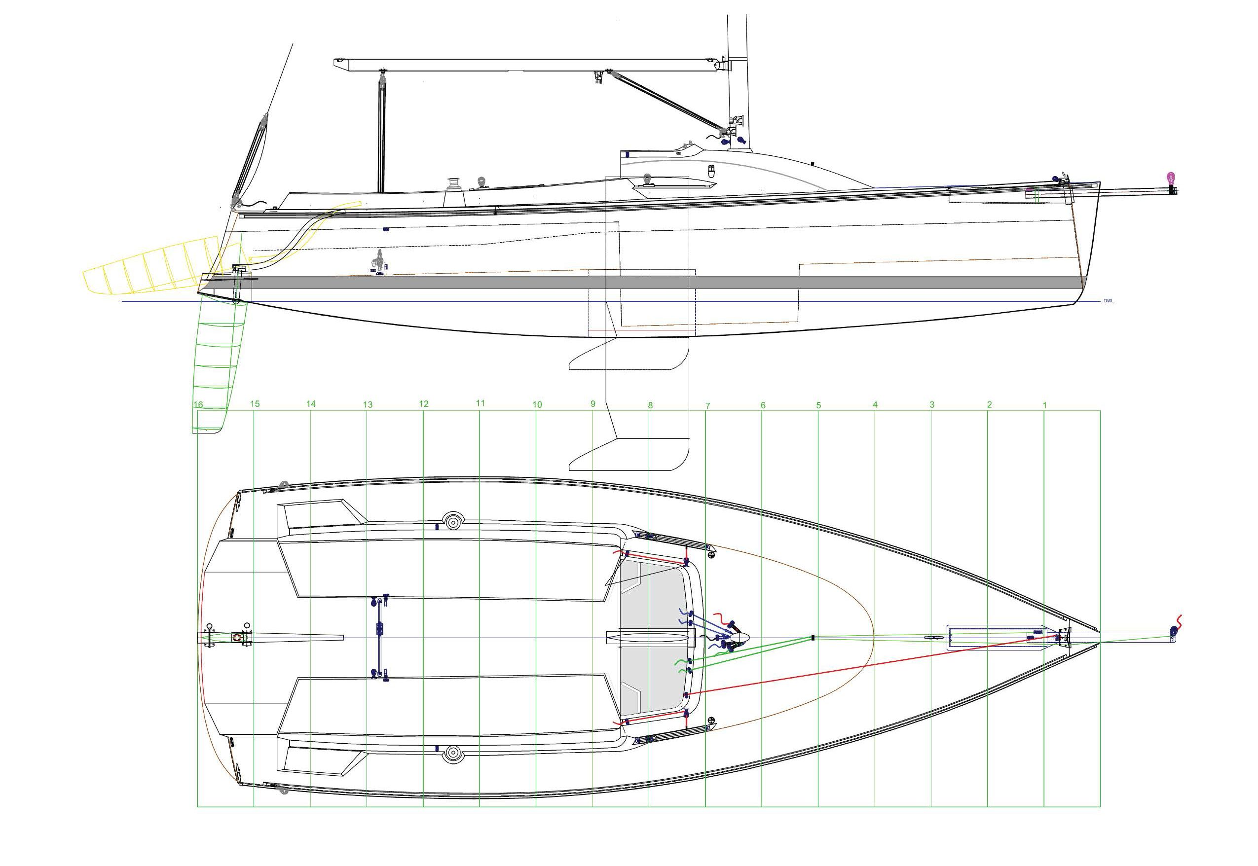 The Tartan 245 as shown with cassette rudder assembly, lifting keel and asymmetric spinnaker sprit well.
