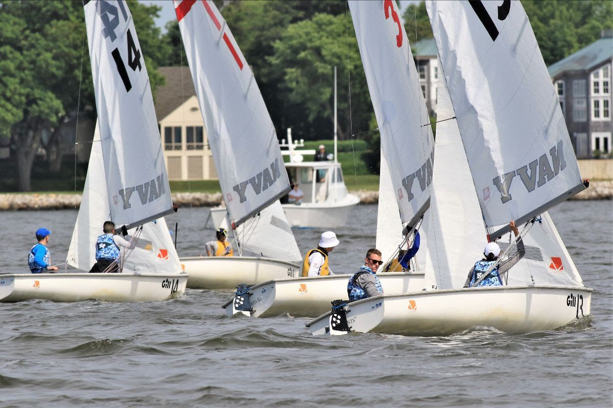 Kings Point and Roger Williams at the 2021 College Sailing Team Race National Championship hosted by the U.S. Naval Academy in Annapolis, Md.