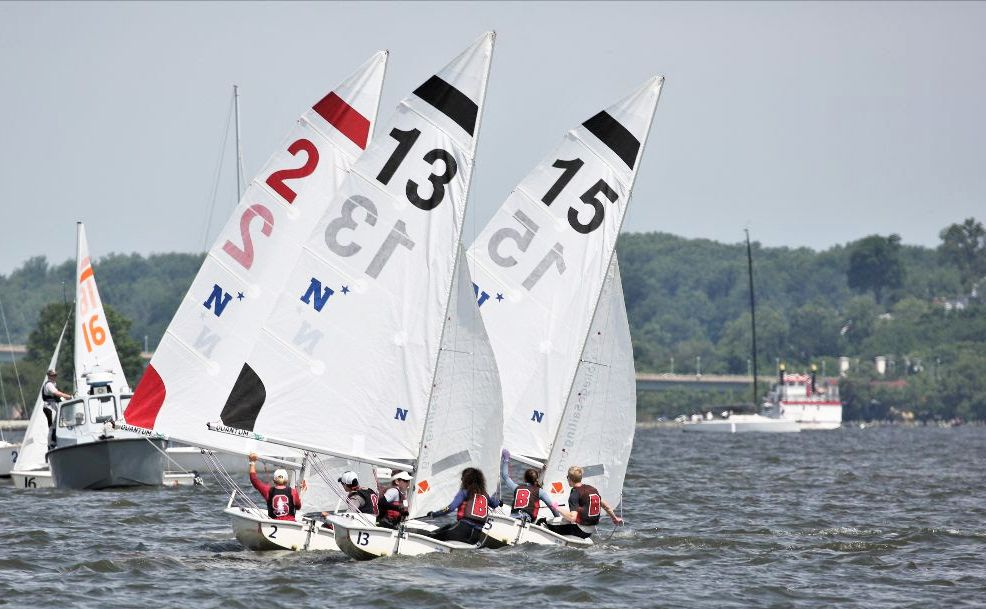 Brown and Stanford sailors battle to the finish at the 2021 College Sailing Team Race National Championship hosted by the U.S. Naval Academy in Annapolis, Md.