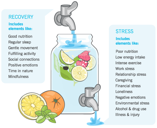 Graphical depiction of a faucet, showing that recovery practices (good nutrition, regular sleep, gentle movement, fulfilling activity, social connections, positive emotions, time in nature, mindfulness) turn on the tap. Stress (poor nutrition, low energy intake, intense exercise, work stress, relationship stress, caregiving, financial stress, loneliness, illness) increase what's leaking out.