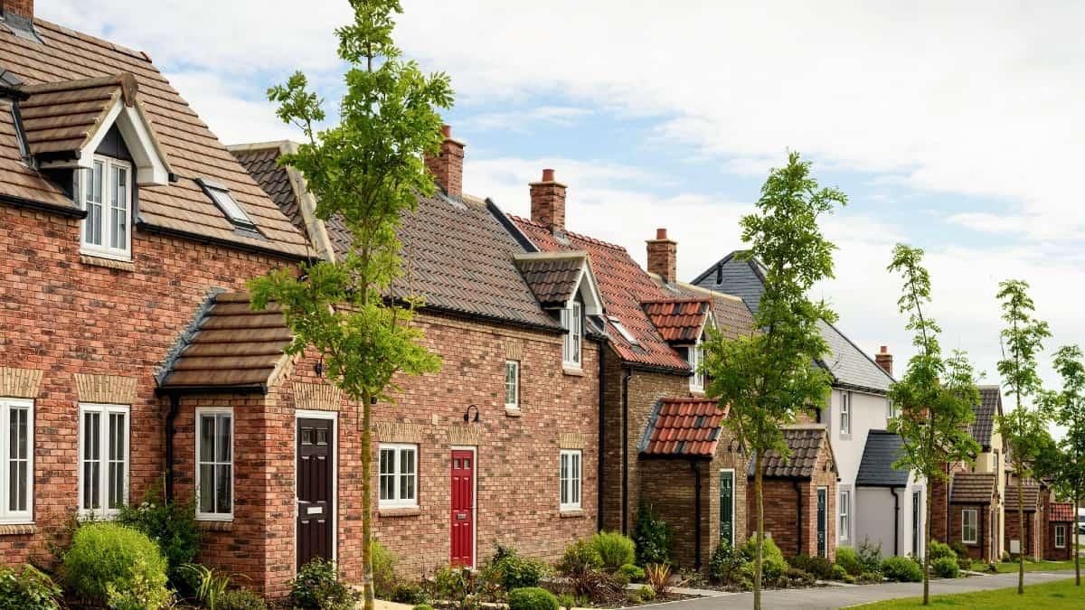 Modern brick houses, built to traditional designs on a housing development in Northern England.