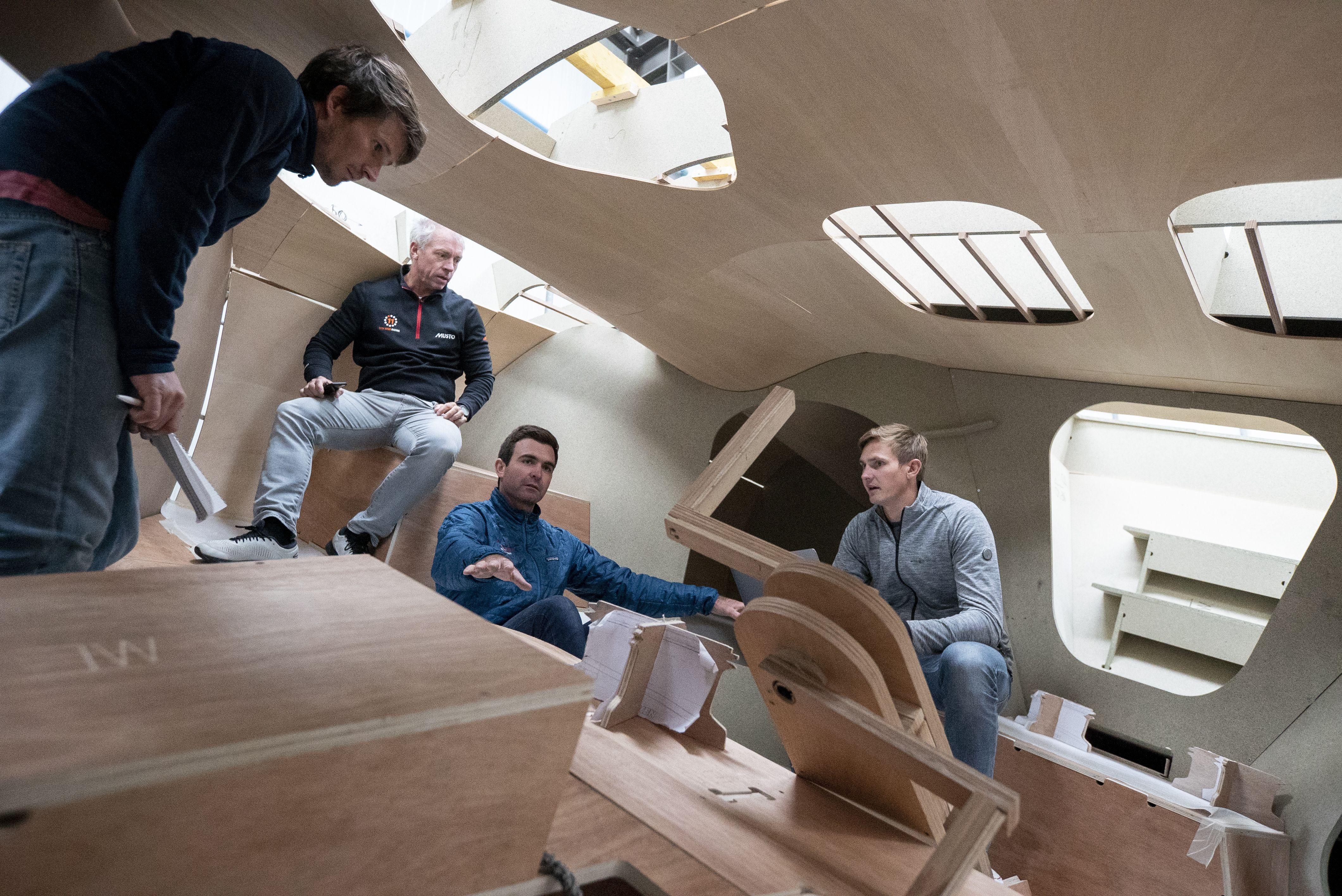 11th Hour Racing Team visit the cockpit mock-up for their new IMOCA 60 being build for The Ocean Race in December 2019.