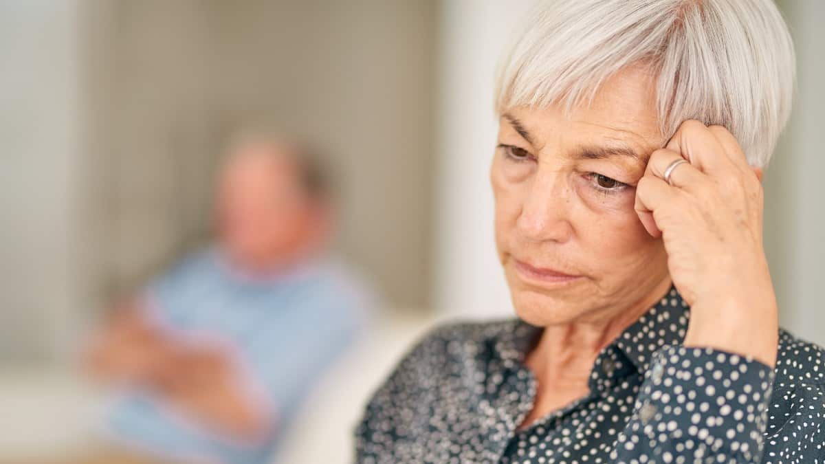 Cropped shot of a senior woman looking upset after an argument with her husband