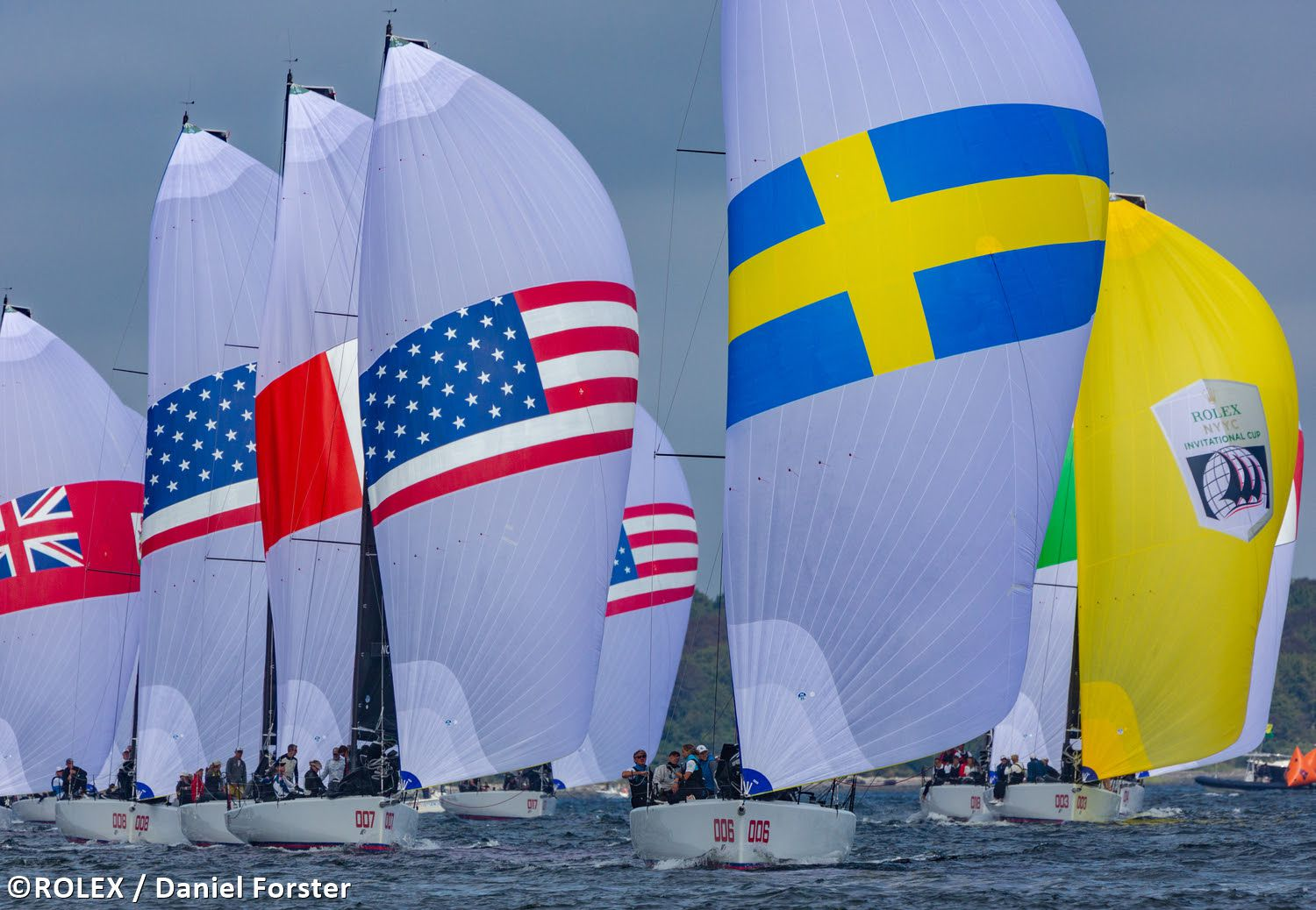 Southern Yacht Club's Invitational Cup team (with yellow leader spinnaker) manages its points on the final day of New York YC's all-Corinthian regatta,