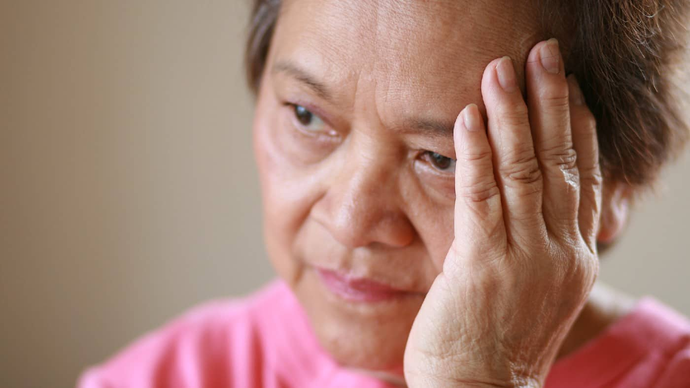 Older woman worried about the future